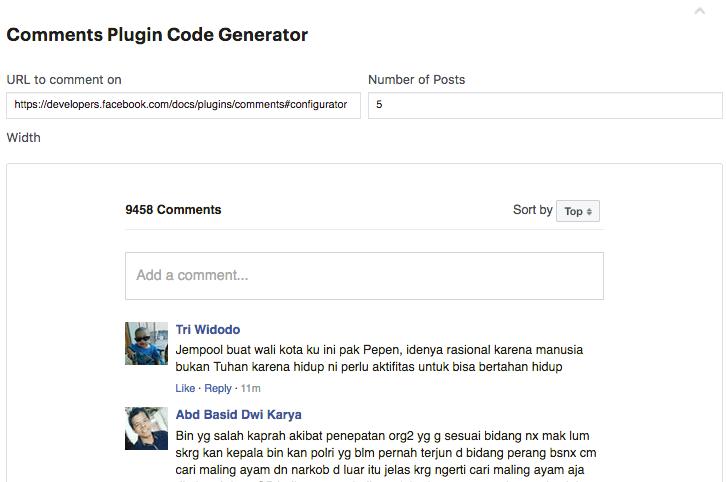 Facebook Comments code generator